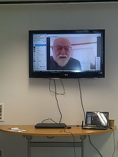 The American author D. Marbrook reading his novel Guest Boy, from New York, via Skype technology - Leeds Book Fair 2013